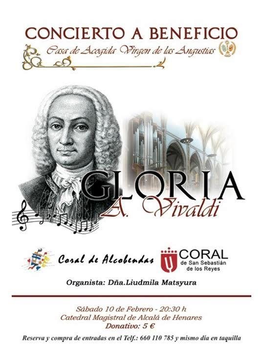 Alcalá: Sábado 10 de Febrero a las 20, en la Catedral-Magistral. Concierto a Beneficio de la Casa de Acogida Virgen de las Angustias.