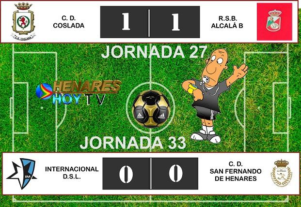 Futbol: Resultados  del CD Coslada y CD San Fernando. Empate de ambos equipos; el primero jugaba en casa y el segundo fuera.