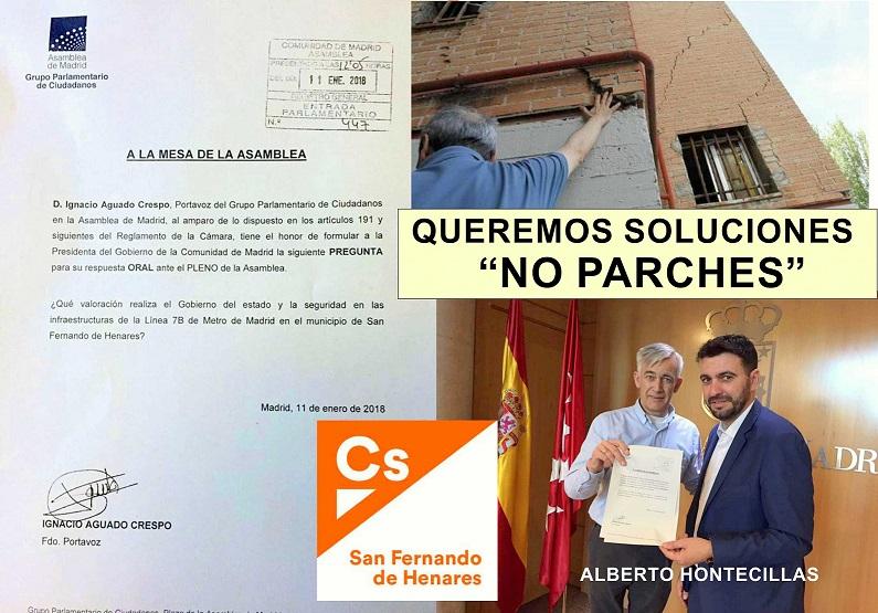 """C´s de San Fernando de Henares, solicita al gobierno Regional Soluciones y no """" Parches""""  para el problema de las viviendas afectadas por la L7B de Metro."""