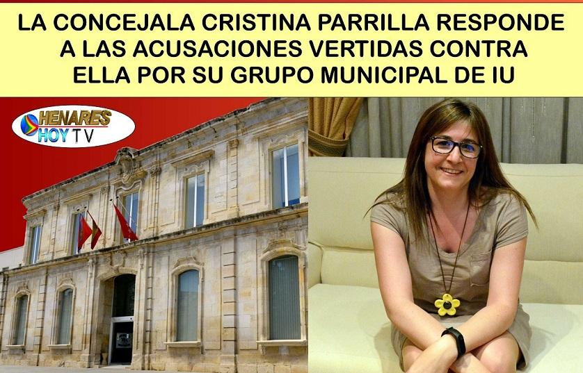 La Concejala Cristina Parrilla, responde con un duro comunicado a las acusaciones vertidas contra ella por su Grupo Municipal de Izquierda Unida.