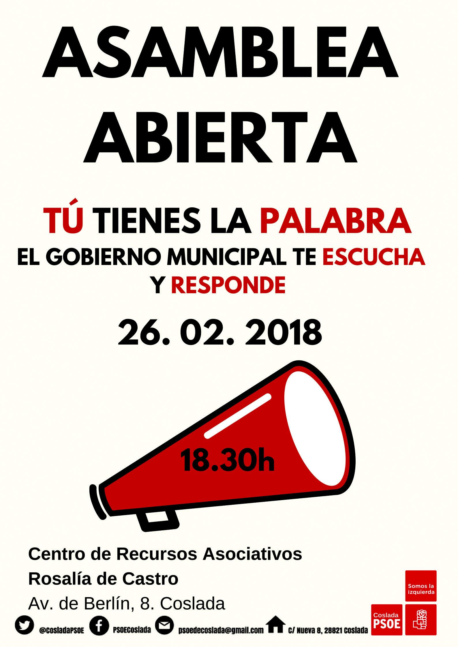 La Agrupación Socialista de Coslada,  pone en marcha Asambleas Ciudadanas para informar de su Gestión en el Ayuntamiento.