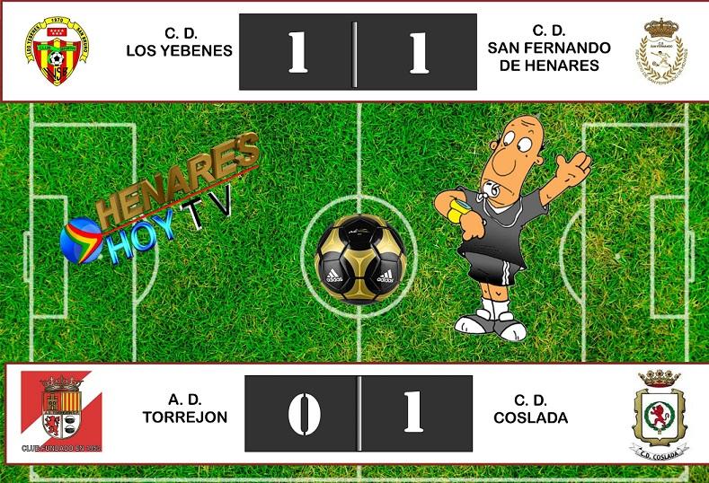 Victoria del CD Coslada y empate del CD San Fernando. Ambos jugaron fuera de casa.