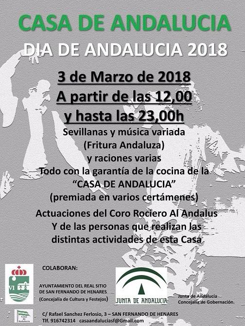 Día 3 de Marzo, la Casa de Andalucía de San Fernando de Henares en su  sede, calle Rafael Sánchez Ferlosio Num.3