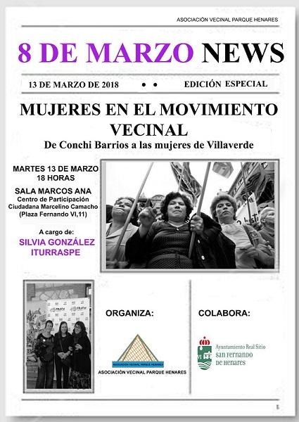 Mujeres en el Movimiento vecinal. Acto organizado por la AV Parque Henares, el martes 13 de Marzo a las 18:00h en el Centro Marcelino Camacho.