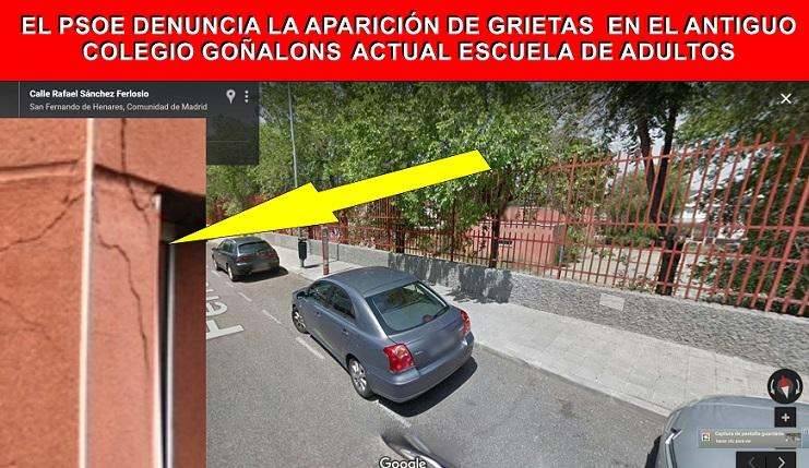 El PSOE de San Fernando de Henares, denuncia la alarmante aparición de Grietas en el antiguo Colegio Goñalons, Ahora Escuela de Adultos.