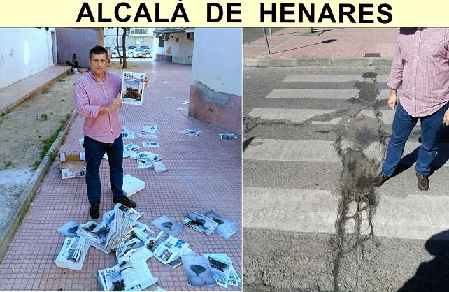 Alcalá: El concejal Rafael Ripoll de E-2000, denuncia el estado del pavimento, calzadas y aceras, y el mal uso que el Ayto. está haciendo de la «costosa Revista Municipal».