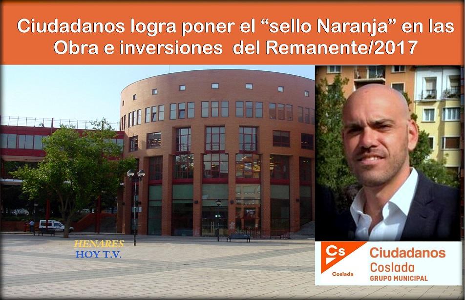 """Cs Coslada, logra poner """"el sello Naranja"""" en las obras e inversiones que se realizarán  con el remanente/2017"""