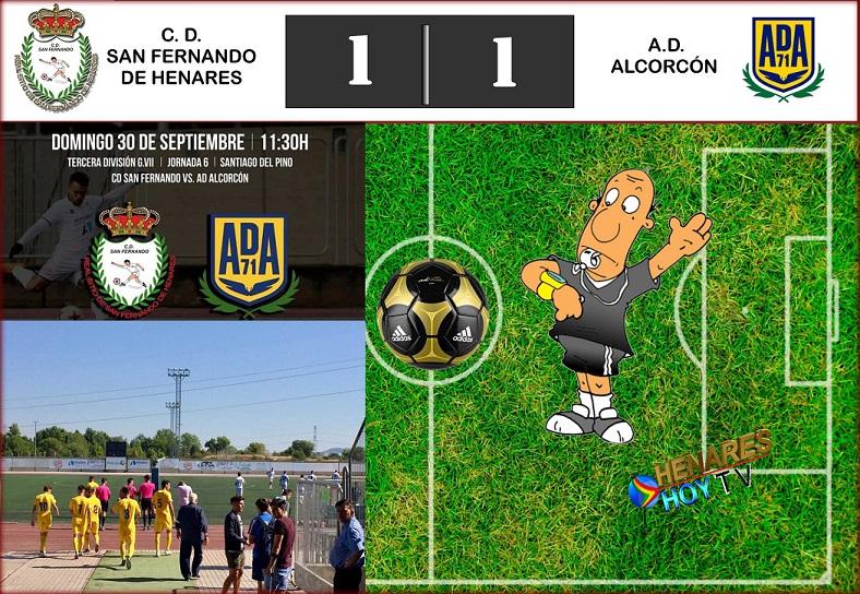 Empate en el Santiago del Pino: CD San Fernando-1 AD Alcorcón-1. Aunque el San Fernando continúa sumando puntos.