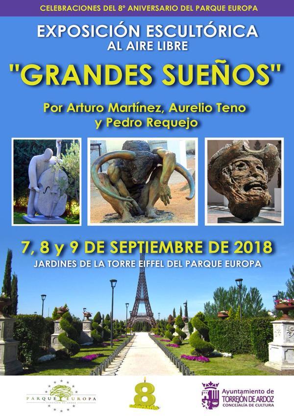 Parque Europa en Torrejon de Ardóz, celebra el VIII aniversario con una  exposición de esculturas de, Pedro Requejo, Arturo Martínez y Aurelio Teno.