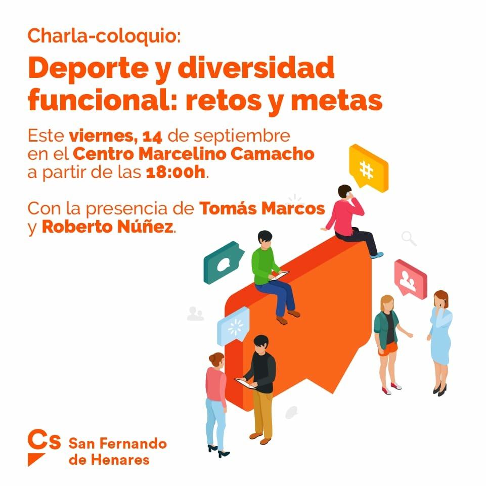Viernes 14. Septiembre -18:00h CS invita a participar en la Charla Coloquio Deporte y diversidad funcional: Retos y Metas. Centro Marcelino Camacho.