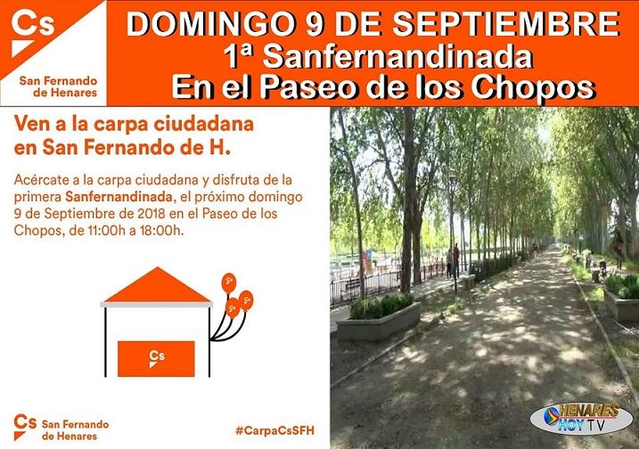 Domingo 9 de Septiembre: CS San Fernando de Hres. invita a todos los vecin@s a participar en la primera Sanfernandinada que se realizará en el Paseo de los Chopos.