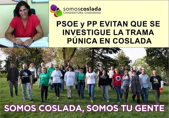 SomosCoslada denuncian que PP y PSOE evitan que se investigue la trama Púnica en Coslada.