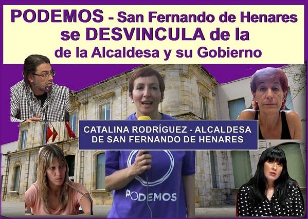 PODEMOS de San Fernando de Henares se DESVINCULA y DESAPRUEBA PÚBLICAMENTE las políticas de la Alcaldesa Catalina Rodríguez y del equipo de gobierno.