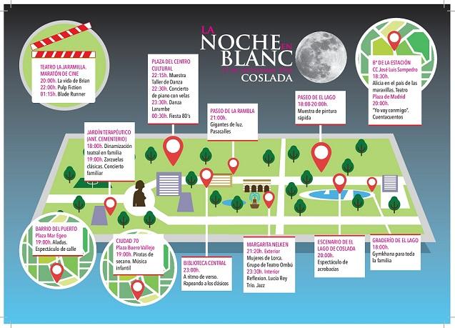 Coslada celebra mañana sábado 15-09 su primera 'Noche en Blanco' con una veintena de actividades gratuitas.