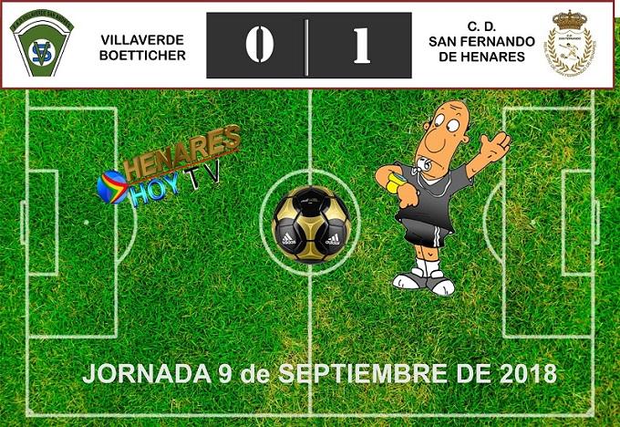 El CD San Fernando de Henares vence por 0-1 al Villaverde. En partido jugado fuera de casa.