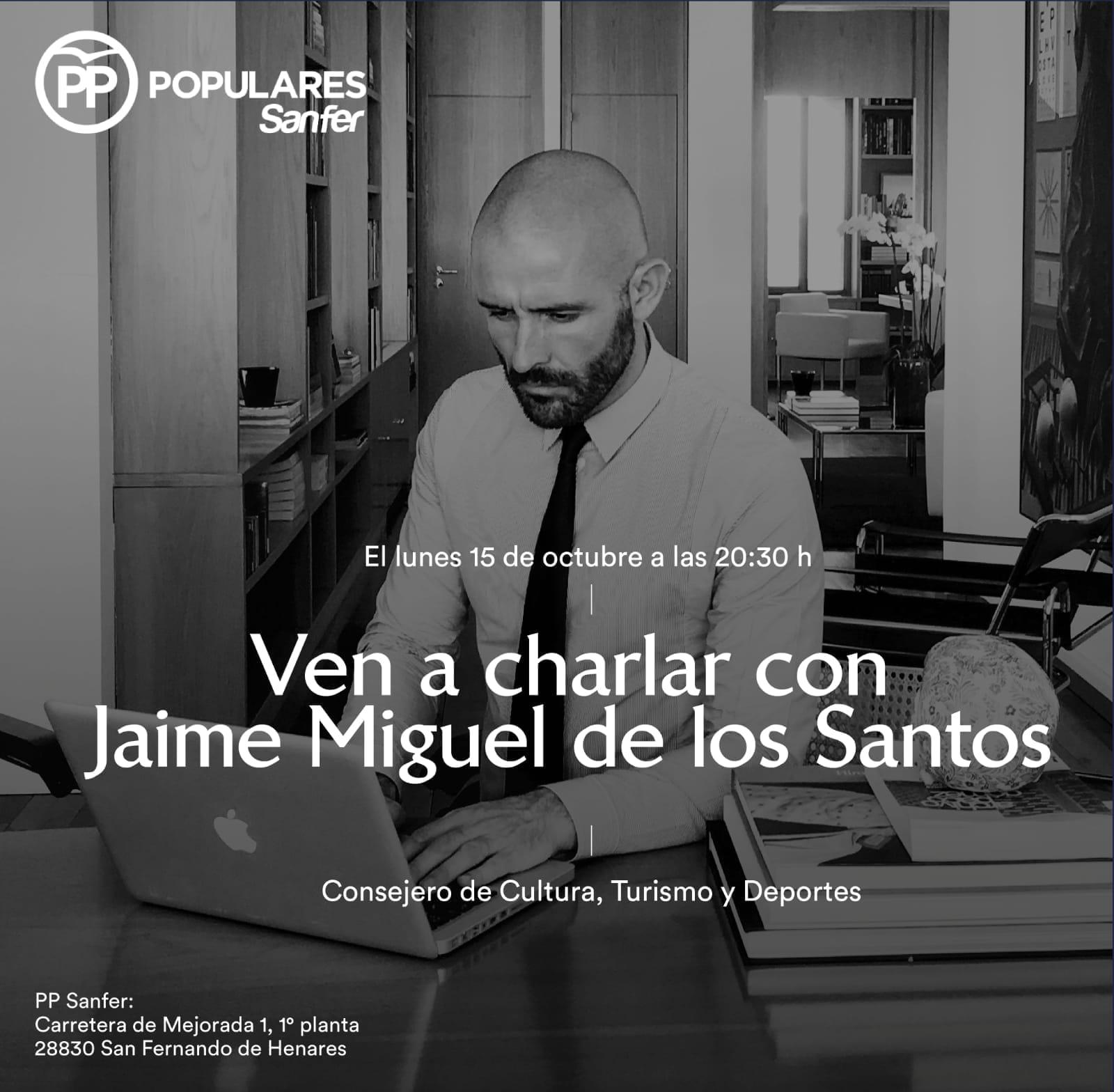 El PP de San Fernando de Henares organiza en su sede, una charla-coloquio el Lunes 15 de Octubre con el  Consejero de Cultura, Turismo y Deportes, Jaime M. de los Santos.