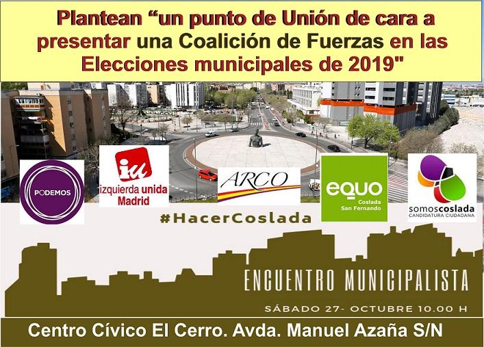 Opinión: Sobre el encuentro que convocan en Coslada el Próximo 27 de Octubre los partidos: PODEMOS, IU, EQUO, ARCO y SOMOS COSLADA.