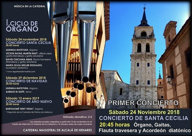 La Catedral de Alcalá de Henares inicia a partir del 24 de Noviembre un  ciclo de conciertos de Órgano y otros instrumentos.