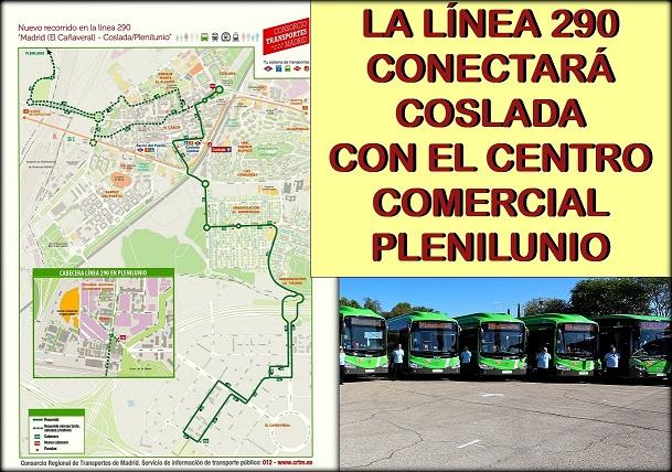 Desde el día 30 de Noviembre, la Línea 290 de autobús conectará Coslada con el Centro Comercial Plenilunio y el Polígono de Las Mercedes.