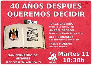 """Acto del PCE en San Fernando de Henares. """" 40 años después queremos decidir"""""""