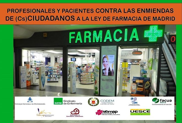 La plataforma de profesionales y pacientes declara su profundo desacuerdo con las enmiendas de CIUDADANOS a la Ley de Farmacia de Madrid