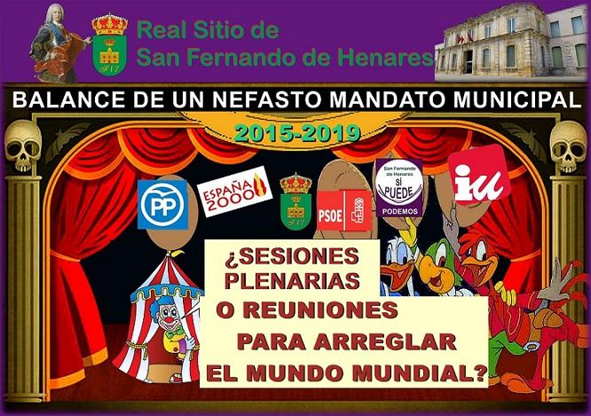 San Fernando de Henares: Análisis y Balance de la gestión de un Nefasto Mandato municipal-2015-2019