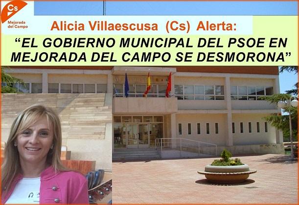 El Psoe de Mejorada del Campo se desmorona. La Agrupación Local de (Cs) alerta de la parálisis del Ayuntamiento tras quedar reducido el Equipo de Gobierno.