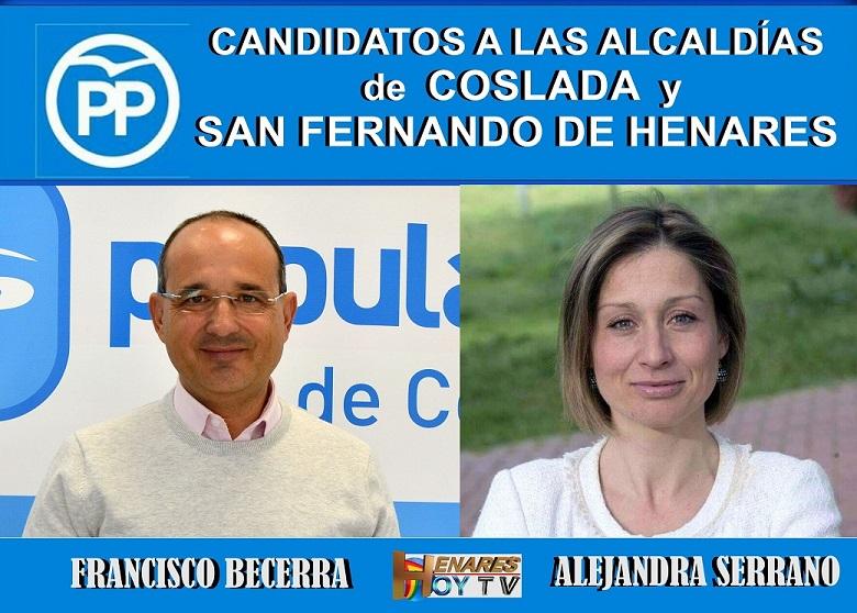 Pablo Casado, presenta a Alejandra Serrano y Francisco Becerra como candidatos a las alcaldías de San Fernando de Henares y Coslada.