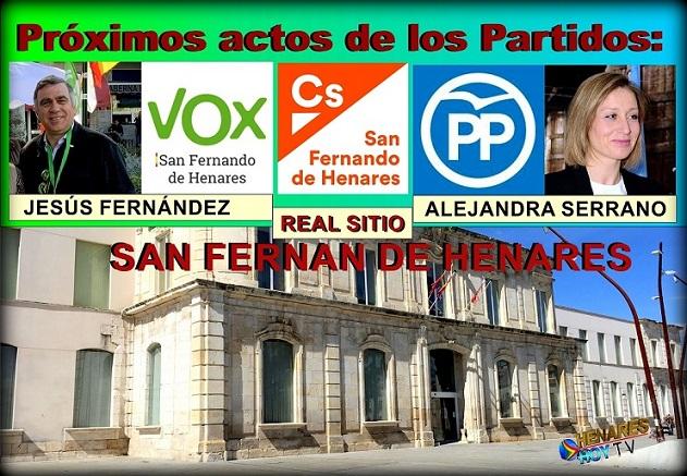 Política: Próximos actos de los Partidos PP, VOX , Ciudadanos y España2000 en San Fernando de Henares.