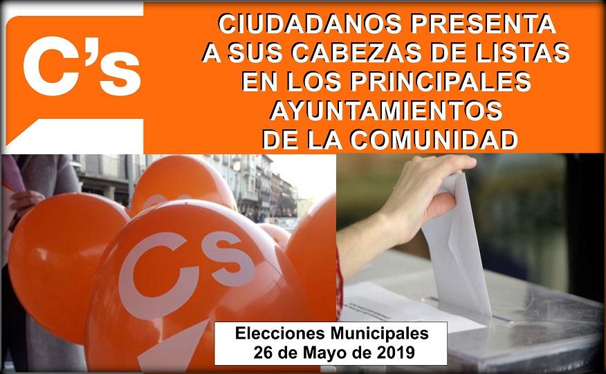 Ciudadanos (Cs) Madrid confirma a sus cabezas de lista a los principales ayuntamientos de la comunidad.