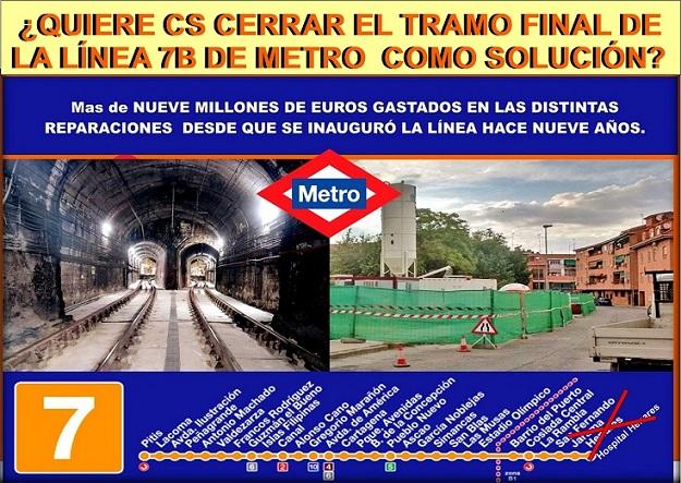 ¿Propone Ciudadanos  como solución a los problemas de la L7B de Metro, cerrar definitivamente su tramo final – San Fernando- Hospital del Henares.???