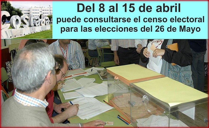 Del 8 al 15 de abril puede consultarse el censo electoral para Votar el 26 deMayo.