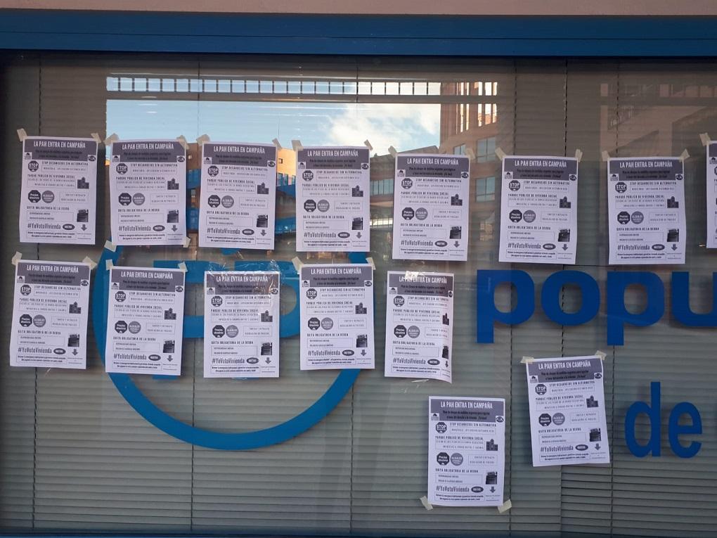 El Partido Popular denuncia actos vandálicos contra su sede en Coslada.