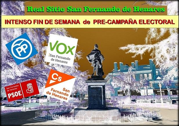 Gran actividad de los partidos políticos, PP, PSOE, VOX y CS en San Fernando de Henares.
