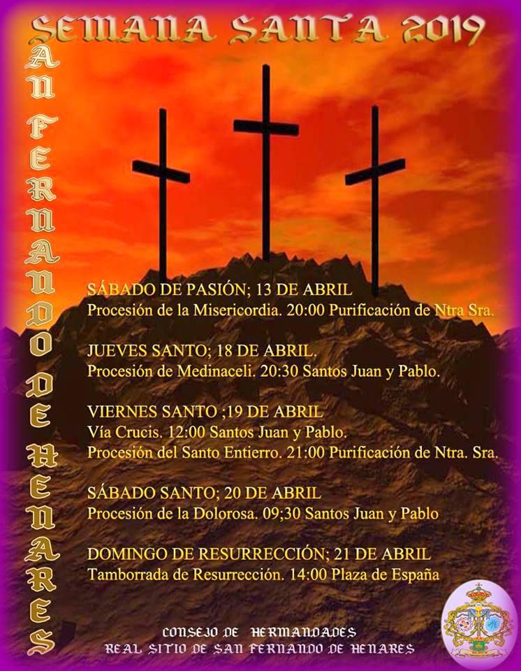Actos y Procesiones de la Semana Santa 2019 en San Fernando de Henares.
