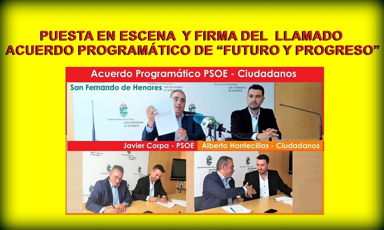 San Fernando de Henares: «¿Pacto de Gobierno municipal PSOE-CS, o FRAUDE PROGRAMÁTICO?»