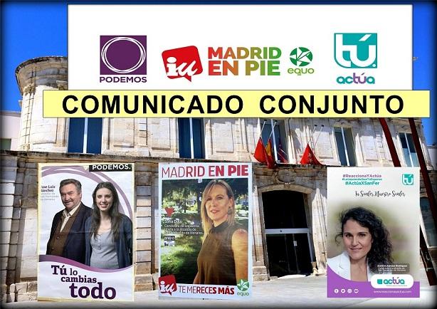 Comunicado conjunto de Podemos, IU-Madrid en Pie-Equo-Anticapitalistas y Actúa San Fernando, en relación con las negociaciones.