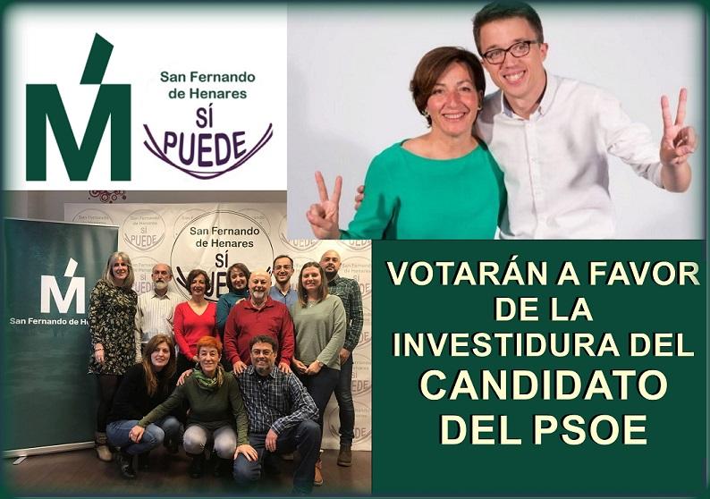 Más Madrid-SFH, zanja la polémica y votará a favor del Candidato del PSOE el próximo Sábado.