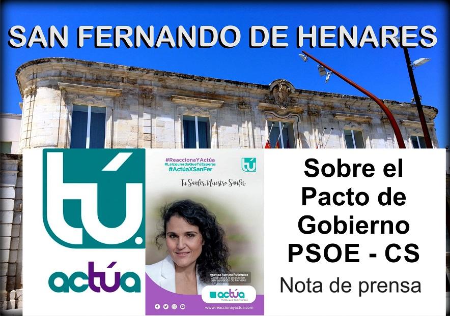 El Partido ACTÚA muestra su indignación ante el acuerdo firmado entre PSOE y CS.