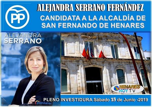 Alejandra Serrano PP, presentará en el pleno de investidura del Sábado 15, su candidatura a la Alcaldía de San Fernando de Henares.