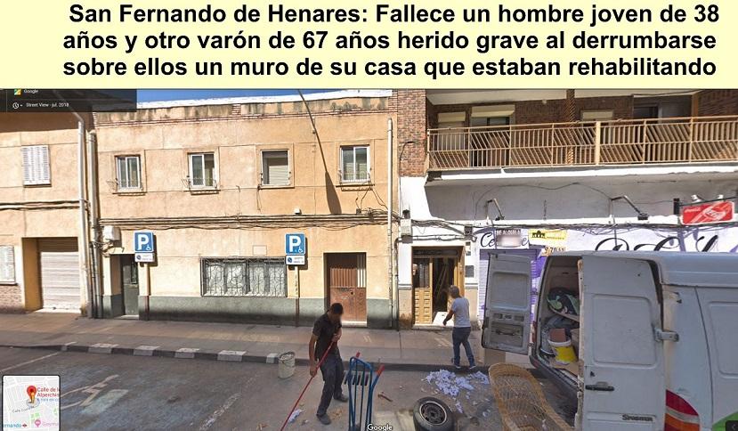 San Fernando de Henares: Un muerto y un herido grave al ceder un muro de su casa que estaban rehabilitando.