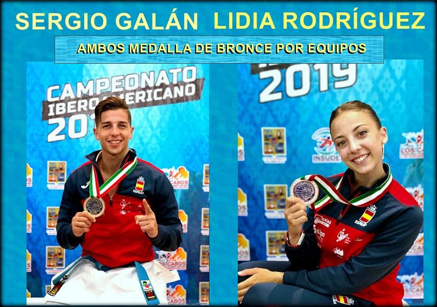 En kata por equipos: Sendos  BRONCES para el de San Fernando, SERGIO GALÁN y para la alcalaína, LIDIA RODRÍGUEZ en Chile.