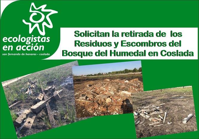 Ecologistas en Acción solicita la retirada de residuos del Bosque del Humedal de Coslada.