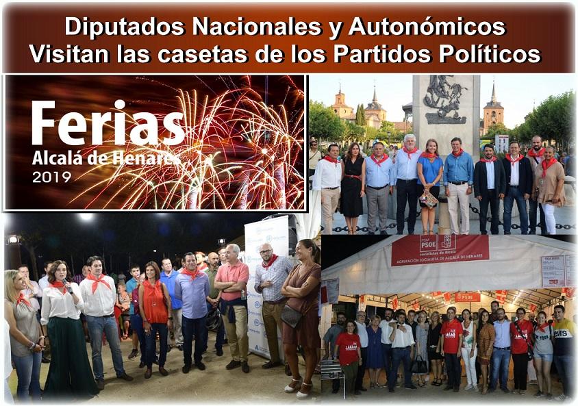 Alcalá.- Diputados Nacionales y Autonómicos visitaron las casetas de ferias de los Partidos, PP, VOX y PSOE.