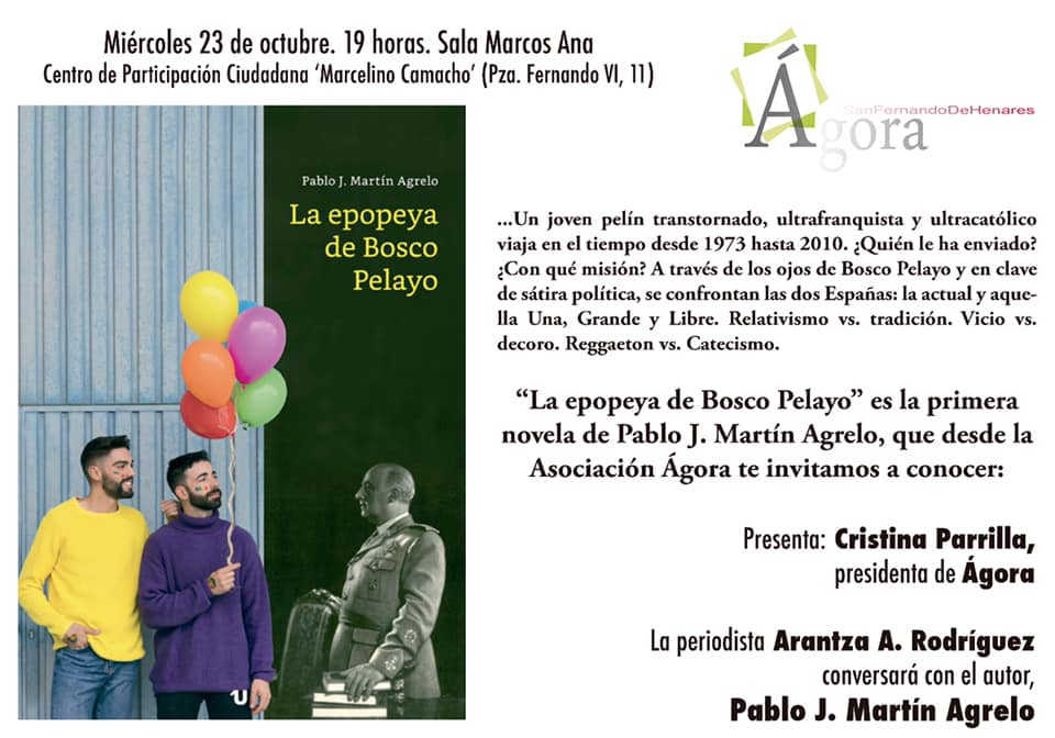 """La Asoc. Ágora presentará el Libro """" La epopeya de Bosco Pelayo"""", el 23 de octubre en el Centro C. Marcelino Camacho."""