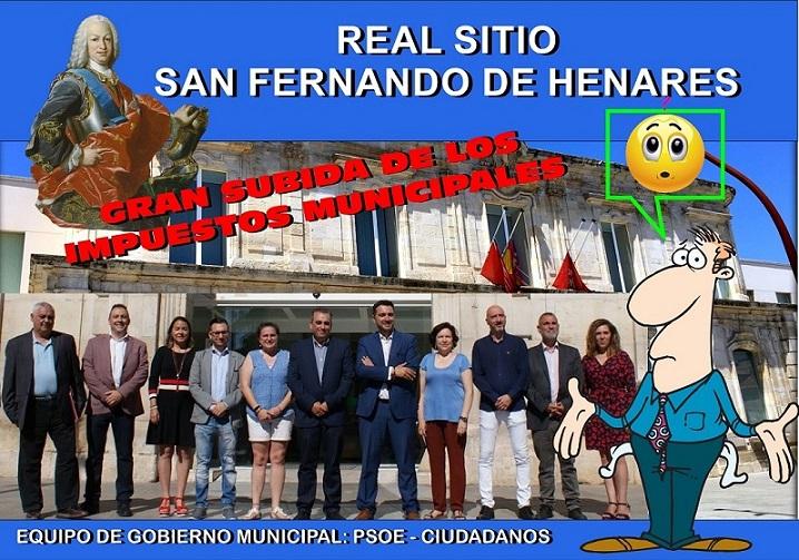 San Fernando de Henares gobernado por PSOE y CS, aprueba una subida de impuestos de hasta un 8%.