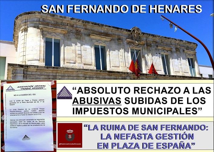 """De """"Abusivas"""" tachan las subidas de impuestos municipales algunas Asociaciones Culturales y Vecinales, entre ellas, la A.V. Parque Henares."""