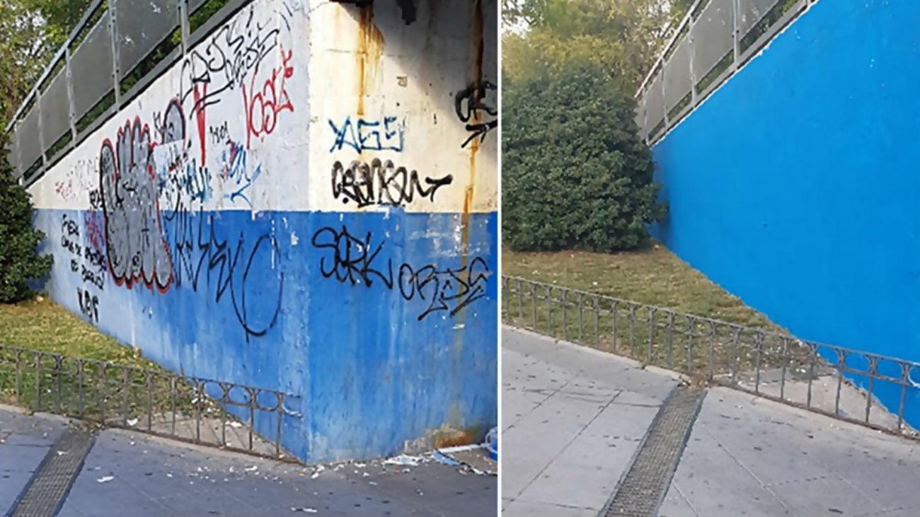 El Ayuntamiento de Coslada inicia una campaña contra los grafitis.