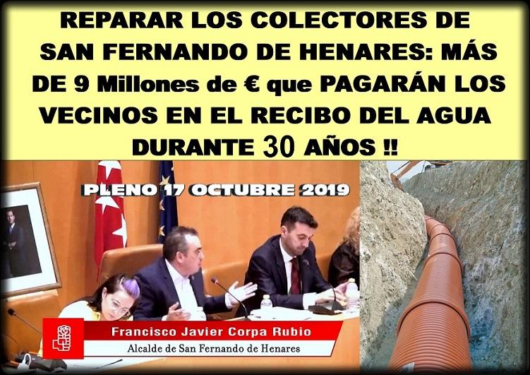 El Molino recurrirá el acuerdo del Ayuntamiento consistente en que la  reparación de los colectores de San Fernando de Henares, lo paguen los vecinos en el recibo del agua.