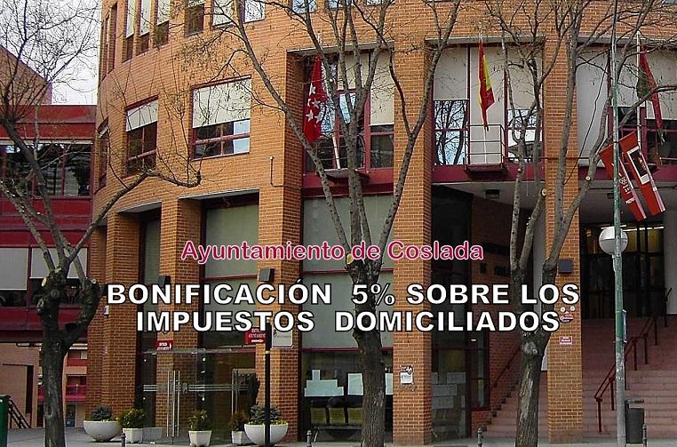 El Ayuntamiento de Coslada bonificará con el 5% en los impuestos municipales domiciliados.